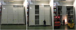 Contenedor para químicos 4 alturas montado en sala refrigerada